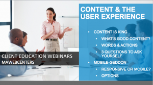 CONTENT AND USER EXPERIENCE