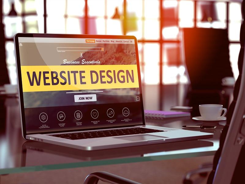 Website Design Concept on Laptop Screen.